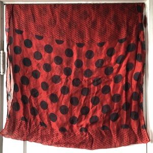 Red and black polka dot scarf